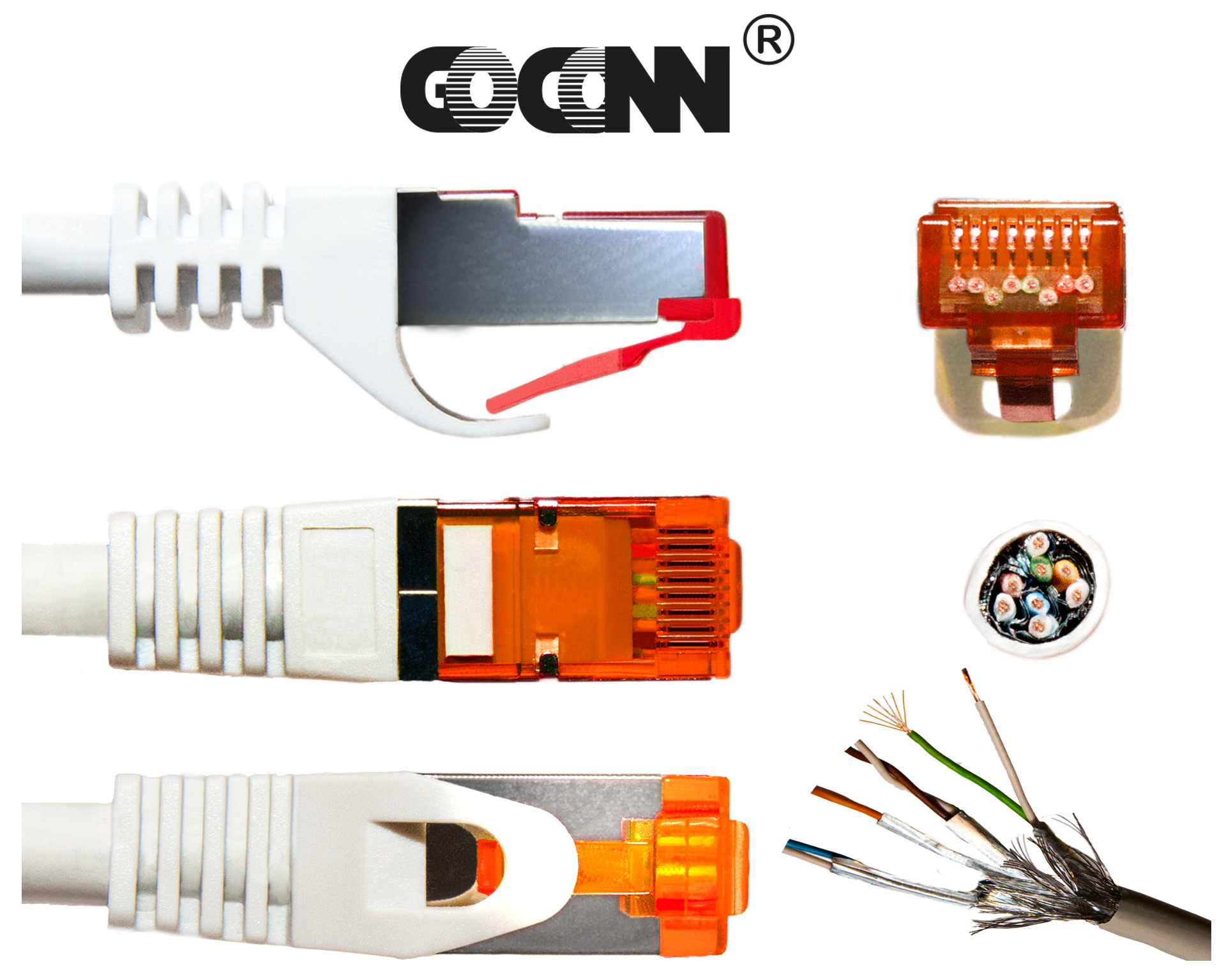 GoConn Patchkabel Cat6 3m orange Rastnasenschutz S/FTP PiMF 250MHz 2xgeschirmt