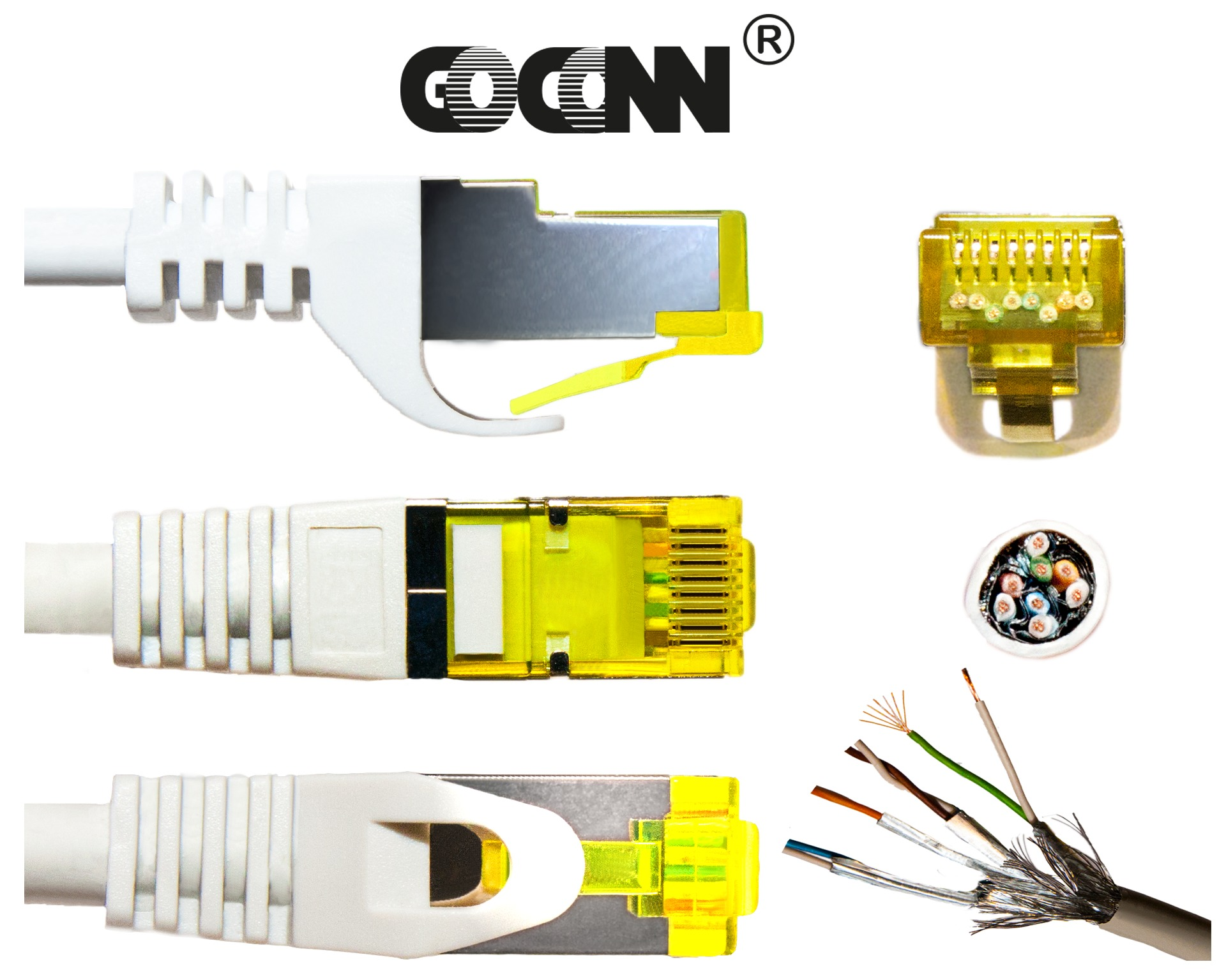 GoConn Patchkabel mit Cat7 Rohkabel 15m orange S/FTP PiMF 500MHz 2xgeschirmt